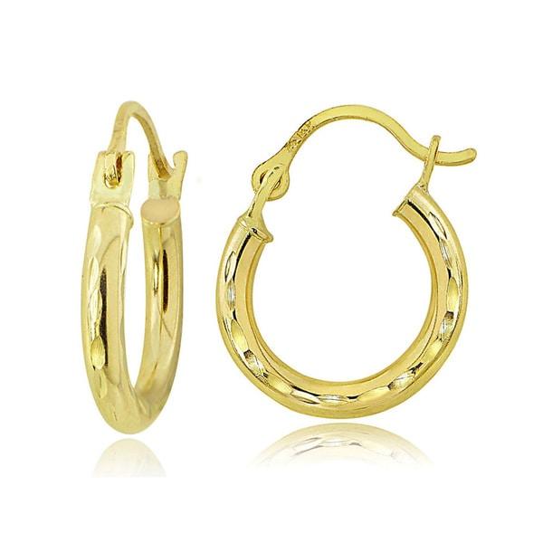 Mondevio 14K Gold 2.8mm Round Diamond-Cut Hoop Earrings, 18mm