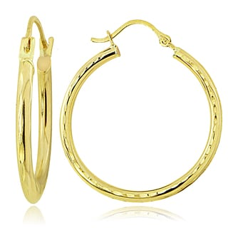 Mondevio 14K Gold 2.5mm Round Diamond-Cut Hoop Earrings, 25mm