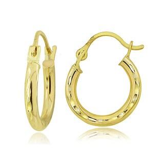 Mondevio 14K Gold 2.5mm Round Diamond-Cut Hoop Earrings, 18mm