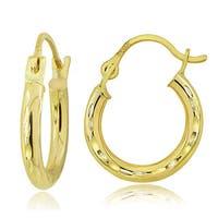 Mondevio 14K Gold 2mm Round Diamond-Cut Hoop Earrings, 15mm