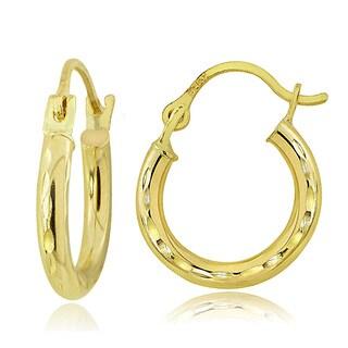 Mondevio 14K Gold 2mm Round Diamond-Cut Hoop Earrings, 12mm