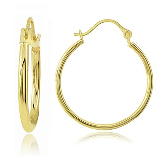 Mondevio 14K Gold 1.5mm Round Hoop Earrings, 25mm