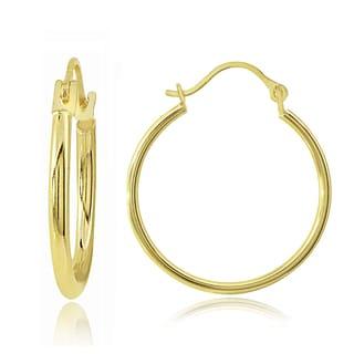 Mondevio 14K Gold 1.5mm Round Hoop Earrings, 20mm