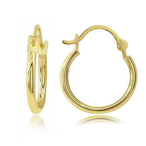 Mondevio 14k Yellow Gold 1.5mm Round Hoop Earrings