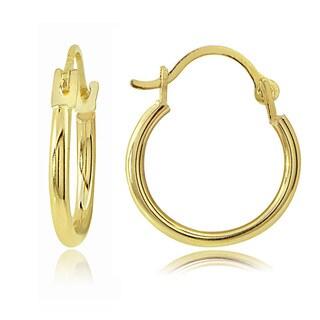 Mondevio 14K Gold 1.5mm Round Hoop Earrings, 18mm