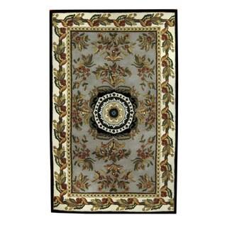 Herat Oriental Indo Hand-tufted Aubusson Gray/ Burgundy Wool Rug (5' x 8')