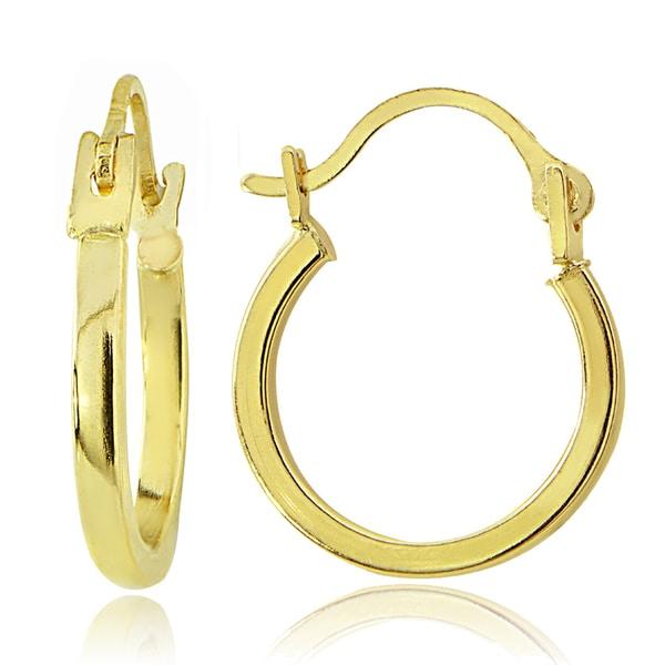 Mondevio 14K Gold 1.5mm Square Tube Hoop Earrings, 15mm