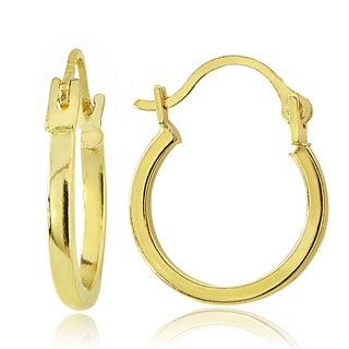 Mondevio 14K Gold 1.5mm Square Tube Hoop Earrings, 12mm