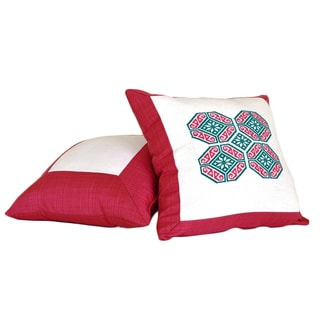 Blossom Hand-embroidered Cotton 18-inch Decorative Pillow (Mexico)