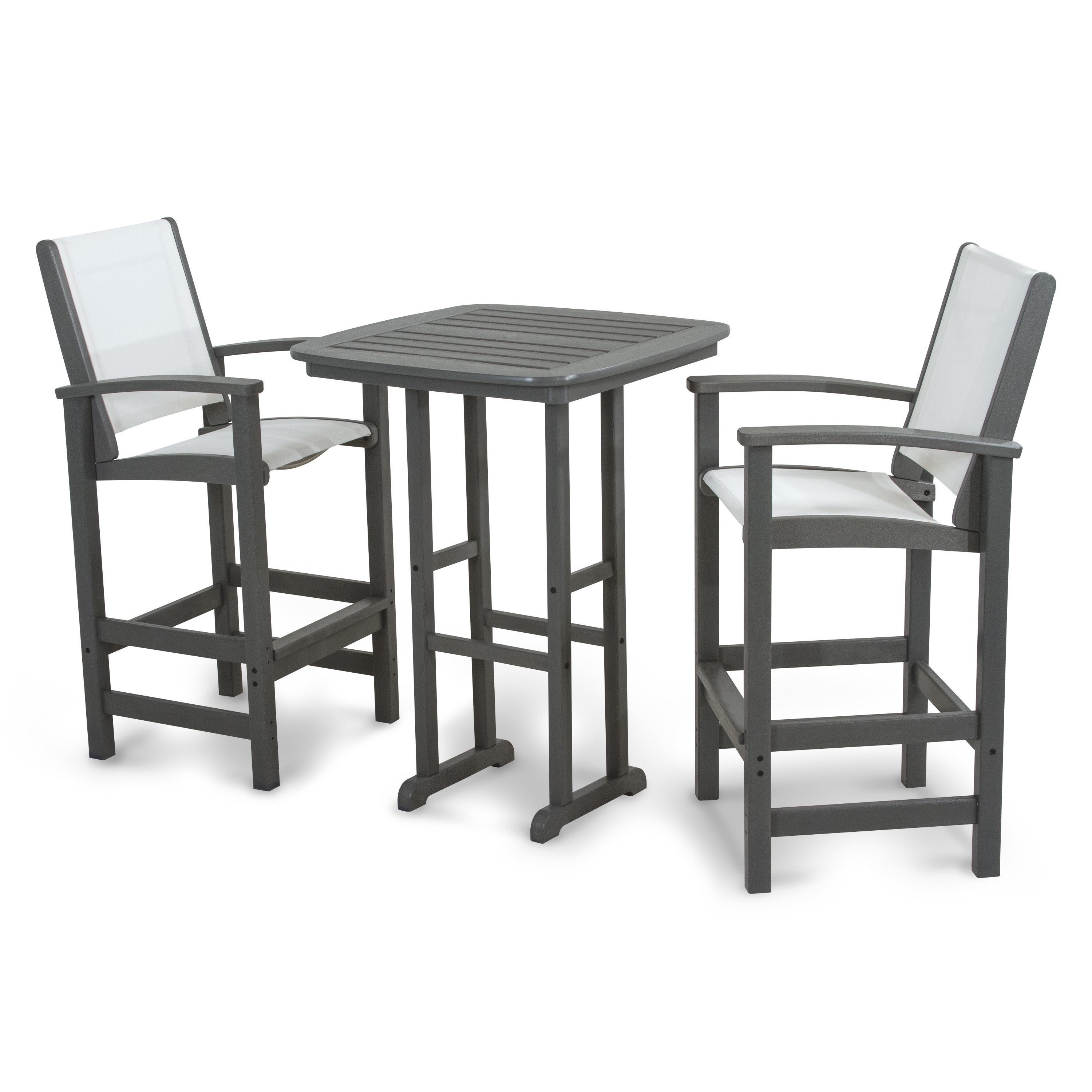 Picture of: Polywood Coastal 3 Piece Outdoor Tall Bar Set With Table Overstock 10084908
