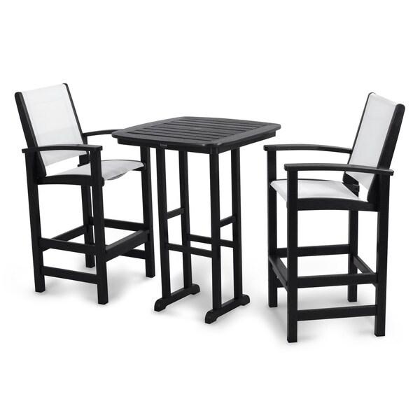Polywood Coastal 3 Piece Outdoor Tall Bar Set With Table