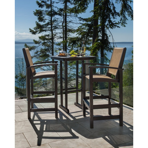 3 piece patio set shop polywood coastal 3 outdoor bar set with 10318