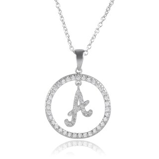 Journee Collection Sterling Silver Cubic Zirconia Initial Pendants
