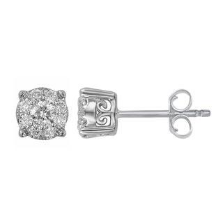 Divina 10k White Gold 1/4ct TDW Round Diamond Unity Earrings (H-I, I2-I3)