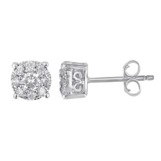 Divina 10k White Gold 1/3ct TDW Diamond Unity Earrings (H-I, I2-I3)