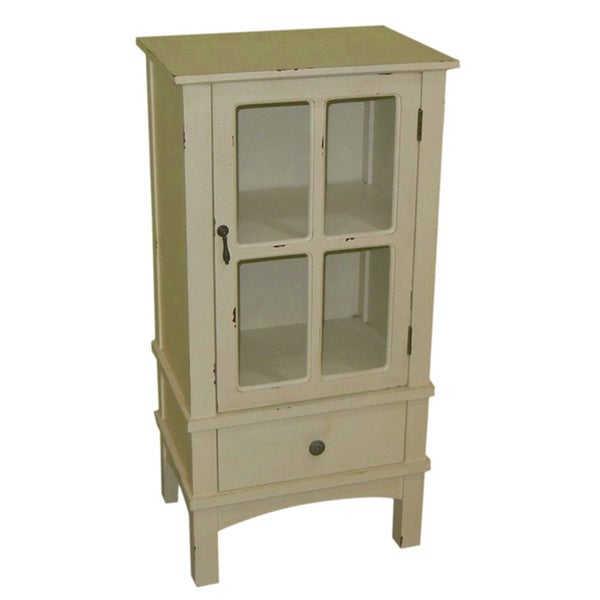 Heather Ann Single Glass Door Single Drawer Accent Cabinet Free