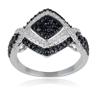 Journee Collection Sterling Silver White and Black Cubic Zirconia Square Statement Ring