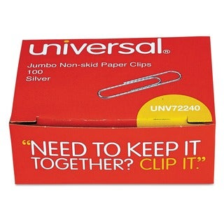 Universal Jumbo Nonskid Silver Paper Clips (Case of 30)