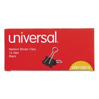 Universal Black/Silver Medium Binder Clips (10 Packs of 12)