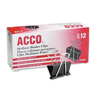 ACCO Black/Silver Medium Binder Clips (10 Packs of 12)