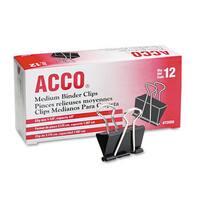 ACCO Black/Silver Medium Binder Clips (10 Packs of 12)