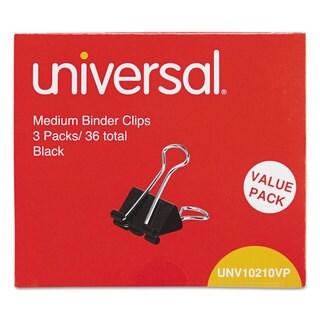 Universal Black/Silver Medium Binder Clips (6 Packs of 36)