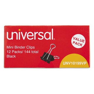Universal Black/ Silver Mini Binder Clips (Packs 4)
