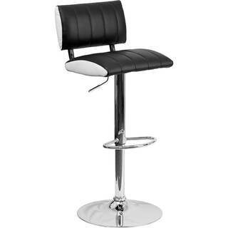 "Adjustable-height Upholstered Swivel Bar Stool - 34"" to 42.50""H"