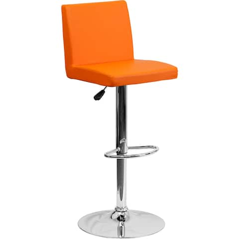 "Contemporary Vinyl Adjustable Height Barstool with Panel Back and Chrome Base - 15.25""W x 18.5""D x 35.25"" - 43.75""H"