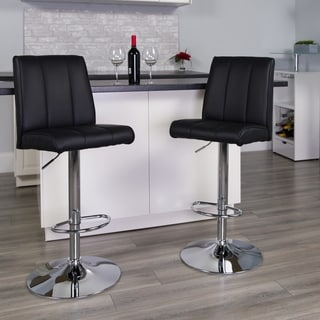 Upholstered Square-back Contemporary Swivel Bar Stool