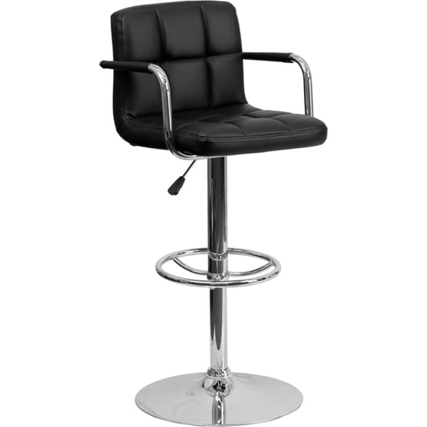 Upholstered Contemporary Armrest Swivel Bar Stool Free