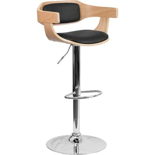 Contemporary Wood Padded Back Swivel Bar Stool 17227957