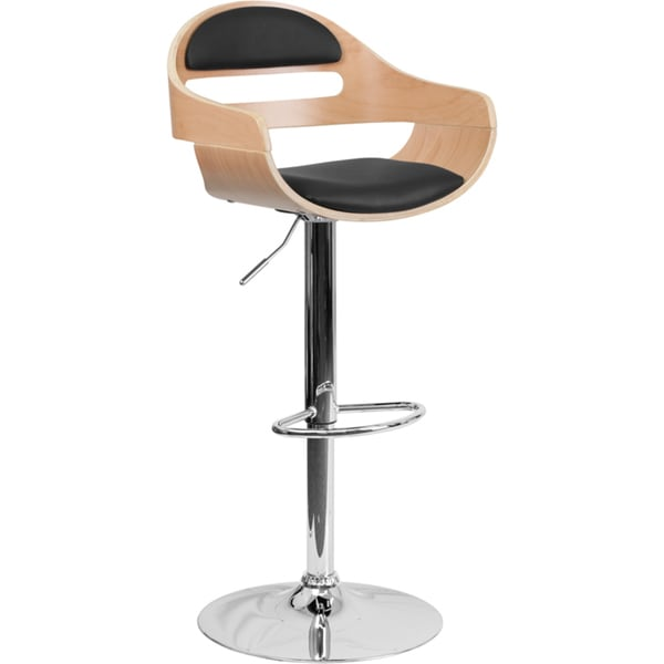 Shop Contemporary Wood Padded Back Swivel Bar Stool Free