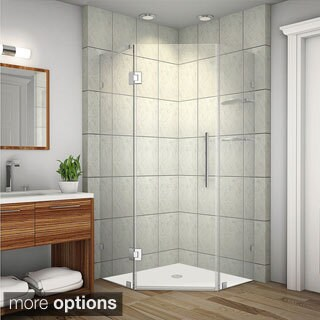 Aston Neoscape GS 34-in x 34-in x 72-in Completely Frameless Neo-Angle Shower Enclosure w. Glass Shelves in Chrome