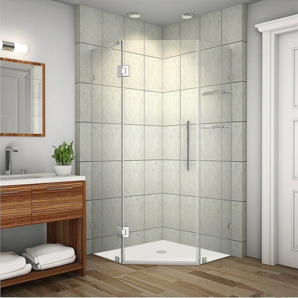 Aston Neoscape GS 38-in x 38-in x 72-in Completely Frameless Neo-Angle Shower Enclosure w. Glass Shelves in Chrome