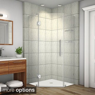 Aston Neoscape GS 40-in x 40-in x 72-in Completely Frameless Neo-Angle Shower Enclosure w. Glass Shelves in Chrome