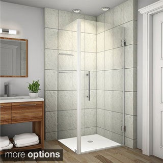 Aston Aquadica GS 32-in x 32-in x 72-in Frameless Square Shower Enclosure w. Glass Shelves in Chrome