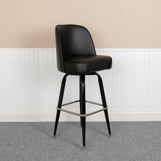 Black Upholstered Swivel Restaurant Bar Stool