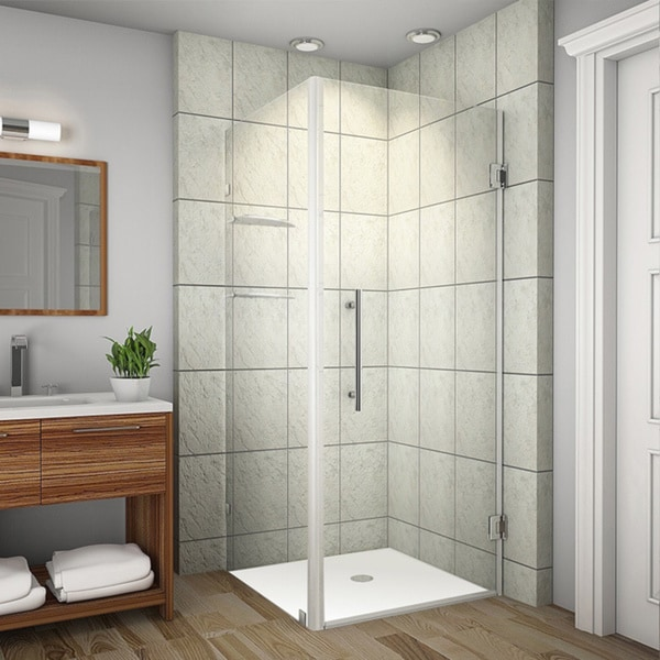 Aston Aquadica GS 36-in x 36-in x 72-in Frameless Square Shower Enclosure w. Glass Shelves in Chrome