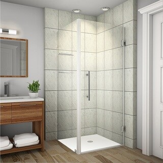 Aston Aquadica GS 38-in x 38-in x 72-in Frameless Square Shower Enclosure w. Glass Shelves in Chrome