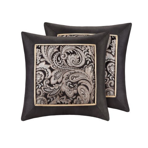 Gracewood Hollow Abley Black Jacquard Square 20-inch Throw Pillow (Set of 2)