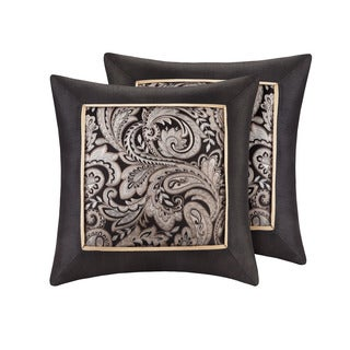 Madison Park Wellington Black Jacquard Square 20-inch Throw Pillow (Set of 2)