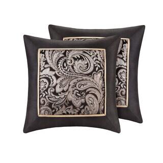 Madison Park Wellington Black Jacquard Square 20 Inch Throw Pillow (Set Of  2)