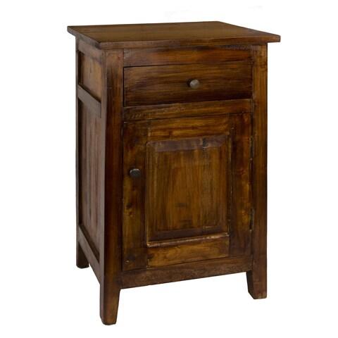 Drogo Single Drawer Brass Hardwood Side Table