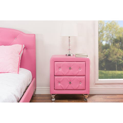 Silver Orchid Porten Crystal Tufted Pink Upholstered Nightstand