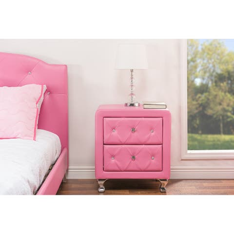 Silver Orchid Heston Crystal Tufted Pink Upholstered Nightstand