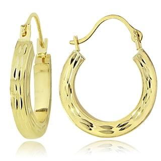 Mondevio 14K Gold 2.6mm Square Tube Diamond-Cut Hoop Earrings, 25mm