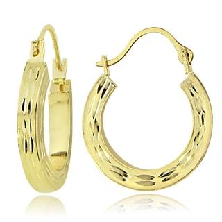 Mondevio 14K Gold 2.6mm Square Tube Diamond-Cut Hoop Earrings, 20mm