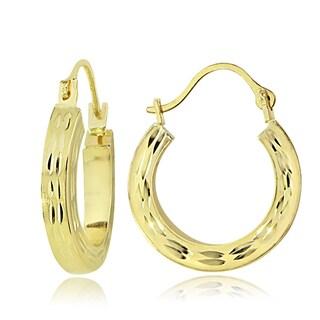 Mondevio 14K Gold 2.6mm Square Tube Diamond-Cut Hoop Earrings, 15mm