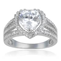 Journee Collection Sterling Silver Heart-cut Cubic Zirconia Halo Wedding Ring